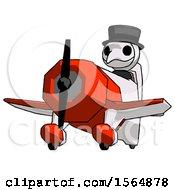 White Plague Doctor Man Flying In Geebee Stunt Plane Viewed From Below