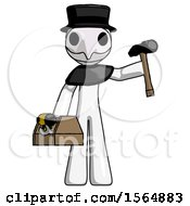 White Plague Doctor Man Holding Tools And Toolchest Ready To Work
