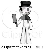 White Plague Doctor Man Holding Meat Cleaver