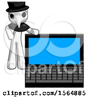 May 23rd, 2018: White Plague Doctor Man Beside Large Laptop Computer Leaning Against It by Leo Blanchette