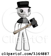 White Plague Doctor Man With Sledgehammer Standing Ready To Work Or Defend