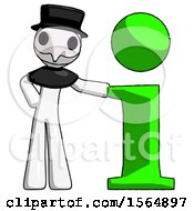 May 23rd, 2018: White Plague Doctor Man With Info Symbol Leaning Up Against It by Leo Blanchette
