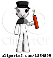 White Plague Doctor Man Holding Dynamite With Fuse Lit