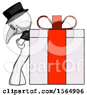 White Plague Doctor Man Gift Concept Leaning Against Large Present