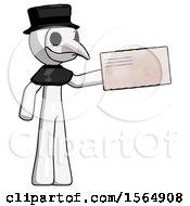 White Plague Doctor Man Holding Large Envelope