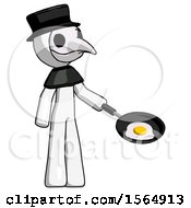 White Plague Doctor Man Frying Egg In Pan Or Wok Facing Right