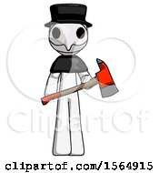 White Plague Doctor Man Holding Red Fire Fighters Ax