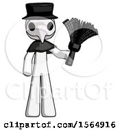 White Plague Doctor Man Holding Feather Duster Facing Forward