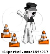 White Plague Doctor Man Standing By Traffic Cones Waving