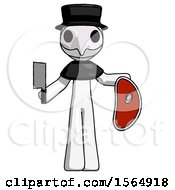 White Plague Doctor Man Holding Large Steak With Butcher Knife