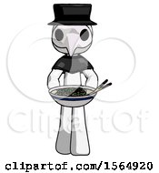 White Plague Doctor Man Serving Or Presenting Noodles