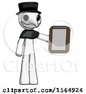 White Plague Doctor Man Showing Clipboard To Viewer
