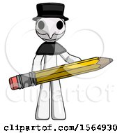 White Plague Doctor Man Writer Or Blogger Holding Large Pencil