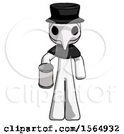 White Plague Doctor Man Begger Holding Can Begging Or Asking For Charity