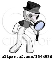 White Plague Doctor Man Inspecting With Large Magnifying Glass Right