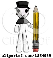 White Plague Doctor Man With Large Pencil Standing Ready To Write