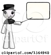 White Plague Doctor Man Giving Presentation In Front Of Dry Erase Board