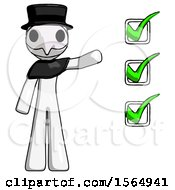 White Plague Doctor Man Standing By List Of Checkmarks