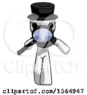 White Plague Doctor Man Looking Down Through Magnifying Glass
