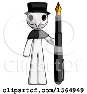May 24th, 2018: White Plague Doctor Man Holding Giant Calligraphy Pen by Leo Blanchette