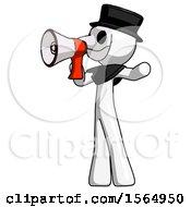 White Plague Doctor Man Shouting Into Megaphone Bullhorn Facing Left