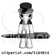 White Plague Doctor Man Weightlifting A Giant Pen
