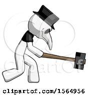 White Plague Doctor Man Hitting With Sledgehammer Or Smashing Something