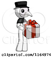 White Plague Doctor Man Giving A Present