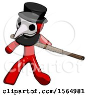 May 24th, 2018: Red Plague Doctor Man Bo Staff Action Hero Kung Fu Pose by Leo Blanchette