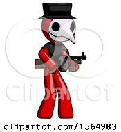May 24th, 2018: Red Plague Doctor Man Tommy Gun Gangster Shooting Pose by Leo Blanchette