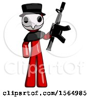 May 24th, 2018: Red Plague Doctor Man Holding Automatic Gun by Leo Blanchette
