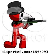 May 24th, 2018: Red Plague Doctor Man Kneeling Shooting Sniper Rifle by Leo Blanchette