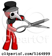 Red Plague Doctor Man Holding Giant Scissors Cutting Out Something