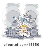 Blond Male Office Employee Resting His Head On His Arms And Giving Up After Being Buried In Paperwork Clipart Illustration