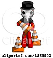 Red Plague Doctor Man Holding A Traffic Cone