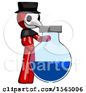 Red Plague Doctor Man Standing Beside Large Round Flask Or Beaker