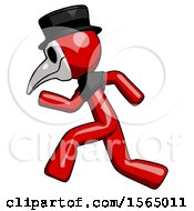 May 24th, 2018: Red Plague Doctor Man Running Fast Left by Leo Blanchette