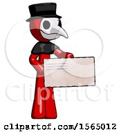Red Plague Doctor Man Presenting Large Envelope