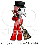 Red Plague Doctor Man Sweeping Area With Broom