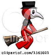 Red Plague Doctor Man Flying On Broom