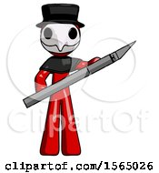 Red Plague Doctor Man Holding Large Scalpel
