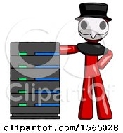 Red Plague Doctor Man With Server Rack Leaning Confidently Against It