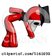 Red Plague Doctor Man Picking Something Up Bent Over