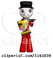 Red Plague Doctor Man Holding Large Drill