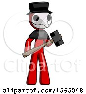 Red Plague Doctor Man With Sledgehammer Standing Ready To Work Or Defend