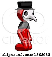May 24th, 2018: Red Plague Doctor Man Kneeling Angle View Right by Leo Blanchette