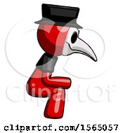 May 24th, 2018: Red Plague Doctor Man Squatting Facing Right by Leo Blanchette