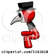 May 24th, 2018: Red Plague Doctor Man Squatting Facing Left by Leo Blanchette