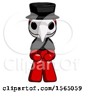May 24th, 2018: Red Plague Doctor Man Squatting Facing Front by Leo Blanchette