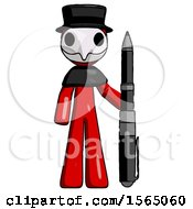 May 24th, 2018: Red Plague Doctor Man Holding Large Pen by Leo Blanchette